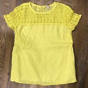 J. Crew Yellow Crochet Linen Top sz 4